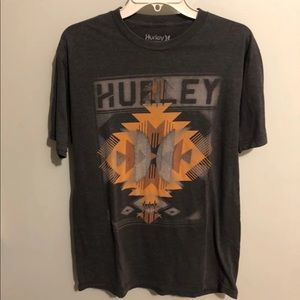 Hurley Aztec Graphic Grey Tee Size Large